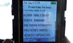 Troleibuso vairuotojo gauta trumpoji SMS žinutė